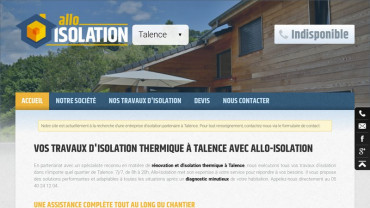 Page d'accueil du site : Allo-Isolation Talence