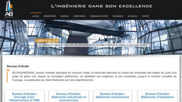 Page d'accueil du site : AB Engineering