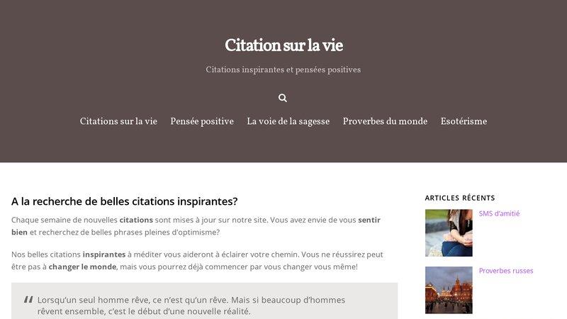 Citation Sur La Vie Portail Internet Pour La Promotion Des