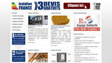Page d'accueil du site : Isolation France