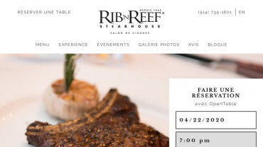 Page d'accueil du site : Rib'N Reef Steakhouse