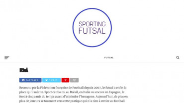 Page d'accueil du site : Sporting Futsal