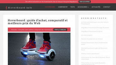 Page d'accueil du site : Hoverboard Info