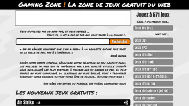 Page d'accueil du site : Gaming Zone